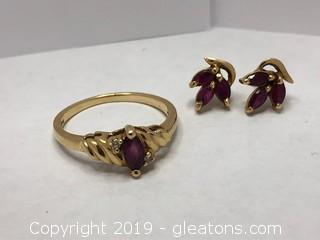 Ruby And Diamond Set , Ring And Earrings