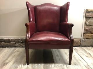 Vintage Leather Armchair Wingback Nailhead Trim