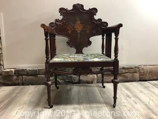 Stunning Antique Wooden Accent Chair