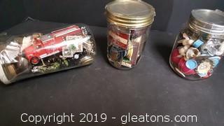 Treasure jars include vintage Winston lighter and other vintage lighters, Antique ceramic poker chips, vintage dollhouse pieces and more!