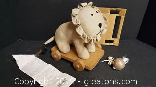 Restored Vintage Pull Toy Lion