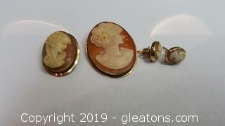 Vintage Cameo - Pendant Earring, Pin In 14kt