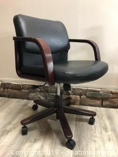 Hon Leather And Mahogany Office Chair