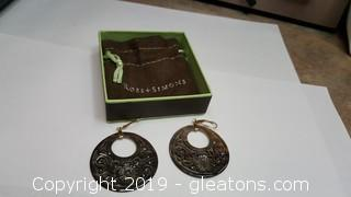 """New With Box """"Ross + Simons Hand Carved Round Gold Hook Earrings"""