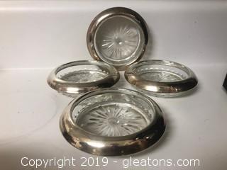 Webster Sterling Coasters Set Of 4 Stamped