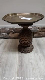 Small Brass/Wood Pineapple Accent Tables (A)