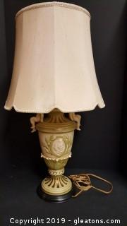Gorgeous Victorian Style/Cherub Glass Table Lamp