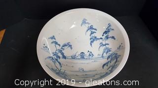 Vintage Japanese Chinese Under Glazed Blue And White Bowl