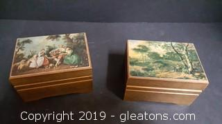 Reuge Set Of 2 Music Boxes Swiss