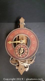 Vintage Swiss Buck Weight Driven Foliot Wooden Clock