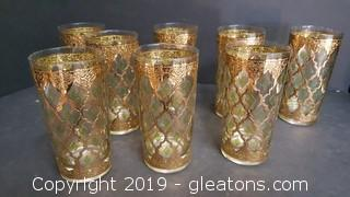 "Set Of (8) Vintage Gold And Green Drinking Glasses ""Libby"""