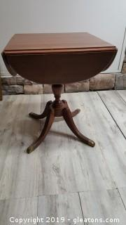 Vintage Duncan Phyee Mahogany Drop Leaf Side Table With Brass Tip Claw Feet