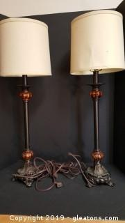 Pr Of Nice Metal Pole Lamps With Shades Black/Antique Sold