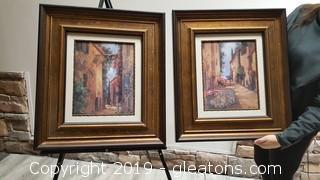 "Pair Of ""Italian Alleyway"" Wide Wooden Frame Wall Art"