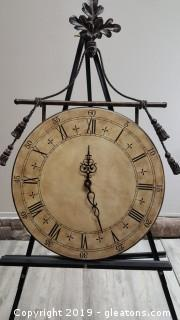 Large Decorative Wall Clock With Metal Detail
