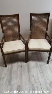 PR Of Vintage Mission Style Rattan Back Covered Seat Chairs