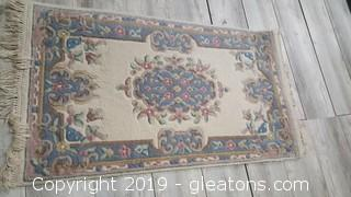 Small Area Rug Light Light Mauve And Blue (Hand Woven)