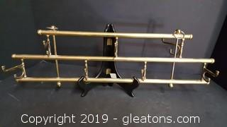 Solid Brass Vintage Swinging Arms Wall Rack, Jewelry Hanger, Tie Holder
