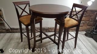 """Powel"" Pub Table With (2) Padded Wood Chairs"