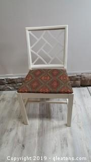 Painted Covered Seat Vintage Wood Chair