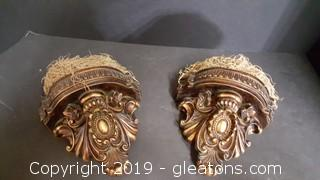 Pr Of Decorative Great Bronze/Gold Wall Sconce Shelves