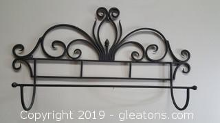 Black Wire Decorative Wall Towel Holder/Utensil Holder