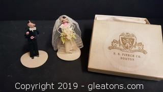 Original Vintage  Bride And Groom Cache Toppers Handmade In Original Box