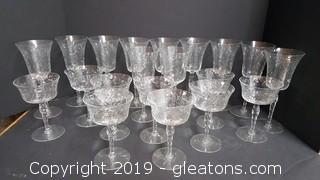 Vintage Set Of Etched Glass Stemware Collection
