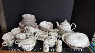 "Johnson Brothers ""Sweet Briar Pattern Set Of Dishes Large Lot Including Lots Of Serving Pieces"