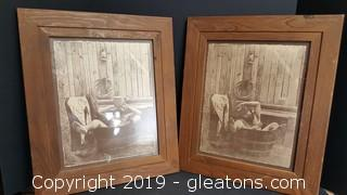 PR Of Matching  Framed Vintage Farmhouse Commercial Prints