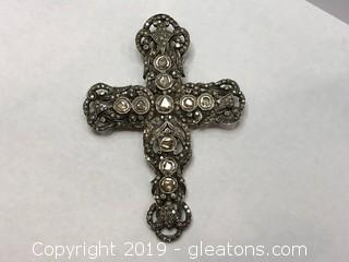 Stunning Antique Diamond And Solid Gold Cross Pendant