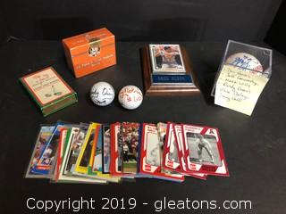 Lot of Vintage and SIgned Sports Memorabilia ATLANTA unopened limited edition Cal Ripken Jr set, Playing cards are military, Randy Owens from group Alabama