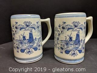 Set Of 2 Signed Delft Mugs