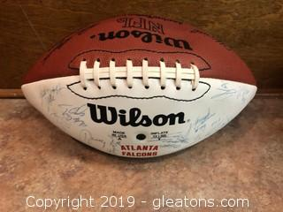 Falcons Autographed Football from many seasons