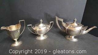 Sterling Silver Art Deco Engraved Weighted Tea Pot With Creamer + Sugar Server