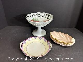 Lot Of 3 Pretty Candy/Serving Dishes