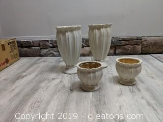 Set Of 4 Matching Cream Planters/Vases