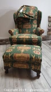 Nice Fun Fabric Wingback Chair With Matching Drapes And Ottoman