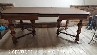 Vintage English Renaissance Style Dining Table With Vinyl Cover , MATCHES BUFFET and CHINA CABINET