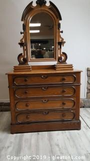 French/Renaissance Carved Top Commode/Buffet/Dresser Very Ornate Detail/ (4) Lock Drawers