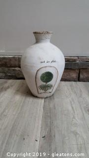 Vintage Look Hand Painted Tapestry Cement Vase