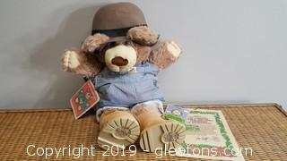 Vintage Xavier Roberts Furskin Teddy Bear Like New With Tags