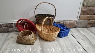 Lot Of 5 Vintage Baskets With Colorful Ones