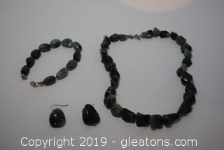 Emerald Set Tumbled Or Rolled Emerald Earrings