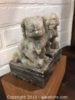 Carved Stone Foo Dog Bookends