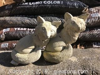 Pair of Cement Foxes
