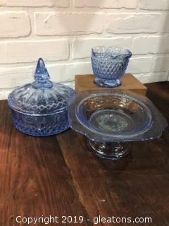 Lot of 3 pieces of blue depression glass