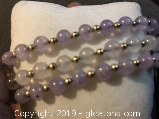 Amethyst and Gold Beaded Bracelet B