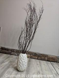 Contemporary White Vase With Branches