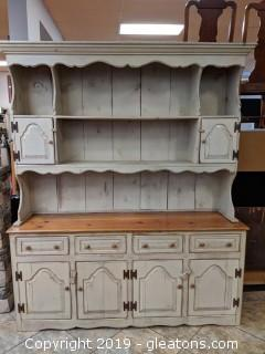 White Washed Farmhouse Hutch